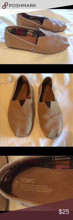 Mens Toms Natural Burlap Slip on Sz 11 Outstanding condition. TOMS Shoes Loafers & Slip-Ons