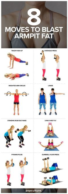 8 Exercises to Blast Armpit Fat. Armpit fat is a hard area to spot-reduce fat. This fun full body workout consists of both cardio and strength training. This can help to reduce body fat and also to get rid of dreaded armpit fat so you can sport your favo Reto Fitness, Fitness Tips, Fitness Motivation, Muscle Fitness, Health Fitness, Fun Workouts, At Home Workouts, At Work Exercises, Exercise At Home