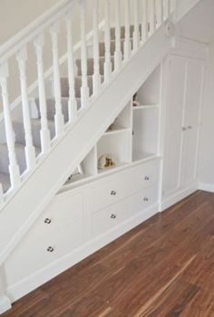 Staircase Storage, Hallway Storage, Staircase Design, Diy Understairs Storage, Stair Design, Storage Shelves, Understairs Closet, Cupboard Shelves, Display Shelves