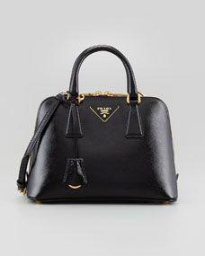 Saffiano Vernice Promenade Crossbody Bag, Black