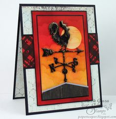 I used a [url=http://shop.sweetstamps.com/Weathervane-Accent-A161-A161.htm][color=navy]Globecraft and Piccolo Weathervane accent[/color][/url] covered with Vintage Black enamels as my focal point for the card.  The background sky created with Ranger Distress Inks, masking and sponging.  The cloud template pattern can be found [url=http://paperscaper.blogspot.com/2010/06/blog-post.html][color=navy]HERE[/color][/url].  The barn was cut from My Mind's Eye wood-grain paper with a silver shimmer…