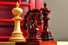 """The Turin Series: A 4.4"""" king height and a beautiful knight design grace these artisan chess pieces. #chess #chesspiece"""