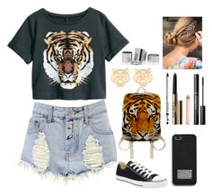 """""""#Tigers"""" by ellen2104 ❤ liked on Polyvore featuring Boohoo, Converse, Kenzo, Trish McEvoy and MICHAEL Michael Kors"""