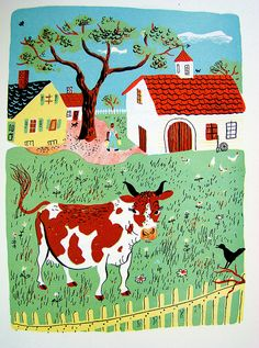 "cow    From a 1944 edition (illustrated by Roger Duvoisin) of ""A Child's Garden of Verse,"" by Robert Louis Stevenson."