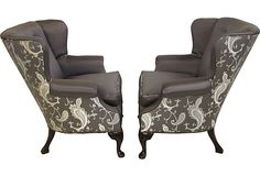 Wingback Chairs, Pair on OneKingsLane.com I like the use of 2 different fabrics on these chairs.