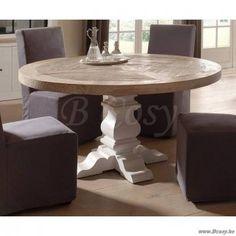 PR Interiors Preston ronde eettafel met White Washed olm top blad en White Oak Legs onderstel Ø150