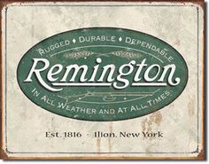 Remington Weathered Logo 16 x 12 Nostalgic Metal Sign | Man Cave Kingdom