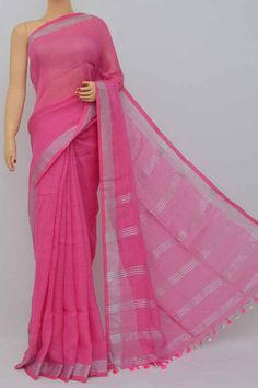 3245198cfe7 Pink Color Handwoven Textured Traditional Saree (with Blouse)zari Border -  Hs250373 Handloom Saree