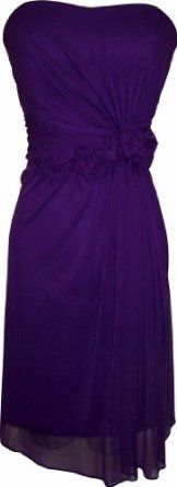 Amazon.com: Strapless Stretch Mesh Knee-Length Gown With Florettes: Clothing