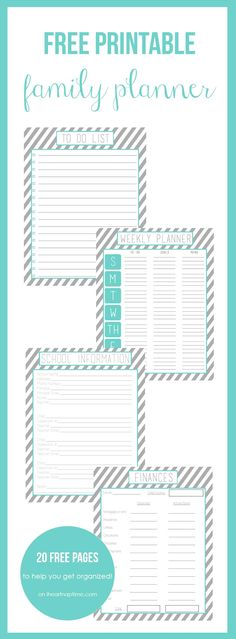 Free printable family planner on iheartnaptime.com -over 20 free printables to help you get organized!