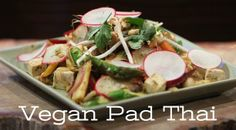 Vegan Pad Thai recipe by Wolfgang Puck is satisfying AND healthy. Ingredients like asparagus, radishes & sprouts our some of the most beauty boosting veggies. Vegan Foods, Vegan Dishes, Vegan Vegetarian, Vegetarian Recipes, Thai Dishes, Veg Recipes, Asian Recipes, Healthy Recipes, Organic Recipes