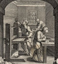 To the very rear of the engraving we see an alcove. There is a second press, indicating that this is probably at least a modestly successful workshop. The worker to the very rear could be cleaning plates, or mixing ink, whilst the man in front of him is most likely grinding pigment for making ink.