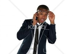image of a surprised businessman talking on cellphone. - Image of a surprised businessman talking on cellphone over white background. Model: Nathaniel Stevenson