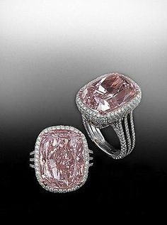 "A ""Pink"" diamond set in pave frame with a three row split shank pave mounting. A Bez Ambar Creation"