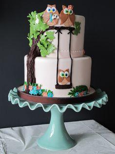Gâteau shower de bébé - Hiboux /  Owl Baby Shower Cake.