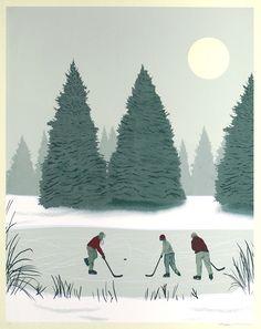 """Pond Hockey"" Art Print by Arsenal Handicraft"
