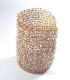 Bridal cuff wire crochet handmade bracelet. Extra wide by KvinTal, $85.00