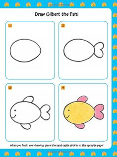 Favorite Pets: A step-by-step drawing and story book for preschoolers (Watch Me Draw) Fish Drawing For Kids, Toddler Drawing, Drawing Lessons For Kids, Drawing Tutorials For Kids, Easy Drawings For Kids, Easy Animal Drawings, Easy Doodles Drawings, Easy Doodle Art, Cute Drawings