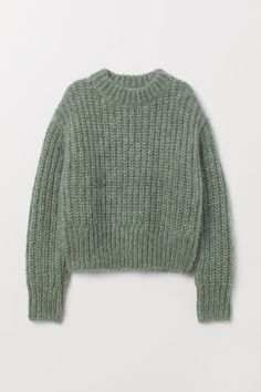 Chunky-knit jumper in a soft wool and mohair blend with a stand-up collar, dropped shoulders, long sleeves and ribbing at the cuffs and hem. Winter Sweaters, Sweater Weather, Wool Sweaters, Sweaters For Women, Chunky Sweaters, Pullover Sweaters, Vintage Sweaters, Chunky Knit Jumper, Chunky Wool