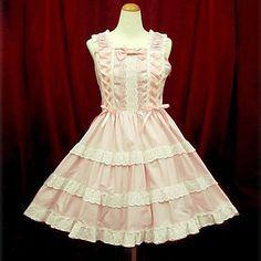Sleeveless Short Cotton Laced Ribbon Sweet Lolita Dress