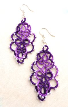 Purple Elderberry Jam Lace Layered Earrings with White Czech GlassBeads - Silver Plated - deal maker Lace Jewelry, Unique Jewelry, Jewellery, Elderberry Jam, Candy Favors, Personalized Gifts, Handmade Gifts, Diy Shirt, Glass Beads