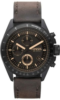 Fossil CH2804 Matte Black/Amber Face With Brown Band < $102.83 > Fossil Watch Men