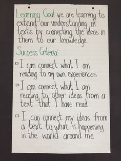 Learning Goal and Success Criteria for Making Connections