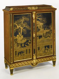ATTRIBUTED TO MAISON JANSEN A LOUIS XVI STYLE GILT-BRONZE MOUNTED KINGWOOD, MAHOGANY AND JAPANNED LACQUER DECORATED CABINET FRANCE, FIRST HALF 20TH CENTURY