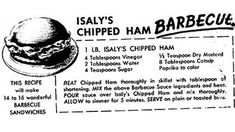 For National Sandwich Day: Isaly's Chipped Ham Barbecue – Dinner Is Served 1972 Ham Sandwich Recipes, Bbq Sandwich, Sandwich Spread, Retro Recipes, Vintage Recipes, Barbecue Chips, National Sandwich Day, Pittsburgh Food, Pittsburgh Steelers