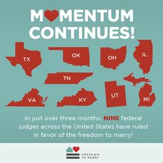 It's been an amazing three months for the freedom to marry! Share this graphic to keep up the momentum, and keep tabs on what's going on in the courts: Rainbow Family, Thank You For Listening, Same Love, My Philosophy, Taste The Rainbow, Us Politics, Power To The People, Left Wing, The Freedom