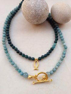 İletişim: aksesuarelle@gmail.com Mavi Yeşil Kuvars Altın Rengi Aksesuarlı Kolye - El Yapımı Takı Tasarım / Blue Green Quartz Neclace - Handmade Jewelry Design