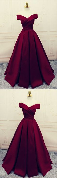 Satin Off Shoulder Burgundy A-line Formal Dress, Elegant Party Dress, Deep Burgundy Prom Dress Cheap evening dress