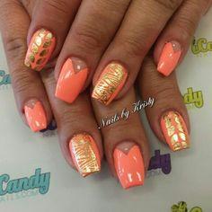 Coral coffin nails gold nail art