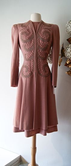 1930s Dusty Rose Wool Crepe Dress