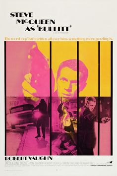 Bullitt!! Love Steve McQueen! Love the sweet Mustang/Charger car chase! One of the all time best movie car chases! Always wanted a Mustang like the one Steve drove in this movie....