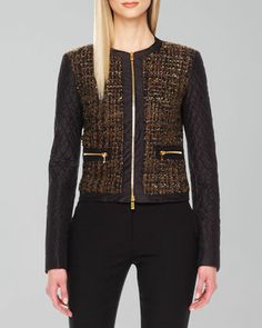 Shimmery Boucle Zip Jacket by Michael Kors