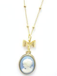Colar Camafeu curto - azul  R$ 36,00