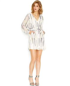 Long-Sleeve Printed Faux-Wrap Dress by Bar III - Found on HeartThis.com @HeartThis