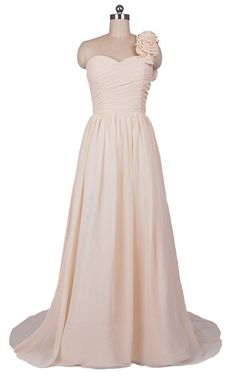 FairOnly One Shoulder Flower Chiffon Evening Bridesmaid Gown Prom Dress+Custom