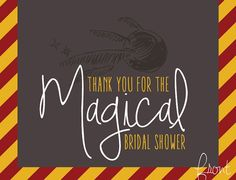 Harry Potter Thank You Card bridal shower, birthday party, baby shower