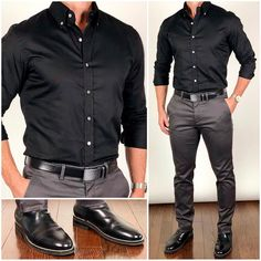 This was by far your favorite outfit from back in August. A solid black dress shirt is a solid essential that I recommend you add to your wardrobe. 👌🏼💪🏼◼️✔️ Do you like this outfit❓ Boots: Belt: Shirt: Chinos: Mode Masculine, Business Casual Men, Men Casual, Smart Casual, Business Outfits, Mode Outfits, Fashion Outfits, Style Fashion, Fashion Boots