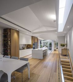 Kitchen Design, Kitchen Ideas, Living Area, Wine Rack, Conference Room, Divider, Contemporary, Table, House
