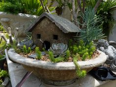 Hypertufa Toad House & Succulent Garden planted in Heron Bowl by Richard Taylor.  Designed by Charlie Thigpen