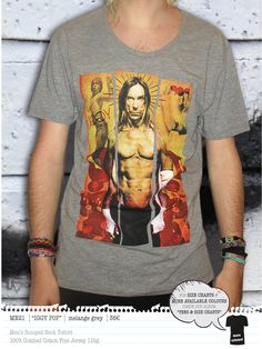 IGGY POP Men's t-shirt Concept Clothing, Iggy Pop, Neck T Shirt, Size Chart, Colours, Store, Mens Tops, Cotton, Clothes