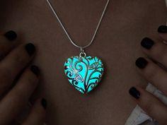 Glowing Necklace Big Aqua Heart  Aqua Glow  GLOW in by MadamIris