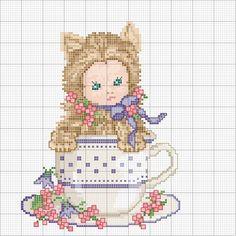 Schema punto croce Kitty-tazza