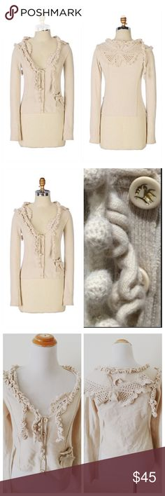 """{Anthro} Leifsdottir Good Tidings Cardigan By Leifsdottir  Good Tidings Sweater Cardigan Size M Rare piece.  A winged beauty rests on the back of this pollen-soft sweater from Leifsdottir. Coiled vines twine down the front, stretching all the way from the golden bird buttons to the bow-tied pocket.  Button closure Back Facing Crochet Butterfly Wool, angora, nylon, spandex Retail $248 Bust 18.5"""" flat, L22"""" Small dot stain noted in last pic. Priced accordingly. Otherwise in EUC Anthropologie…"""