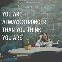 You are always stronger than you think you are. Motivation.