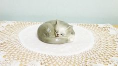 Danbury Mint, Cats Of Character, Goodnight Figurine, Bone China, Pussy, Cat, Kitten, Sleeping, Collectible,  Home and Living