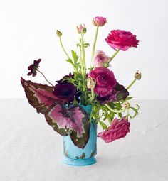 The leaves in this arrangement offer such an exciting departure from the usual floral blahs.